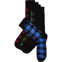 Red lumberjack check socks pack