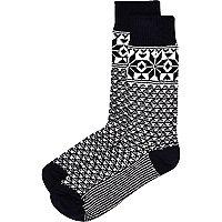 Navy snowflake print boot socks