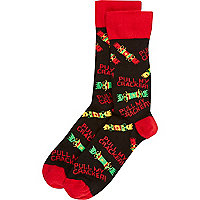 Black pull my cracker novelty Christmas socks