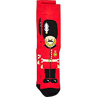 Red London guard print socks