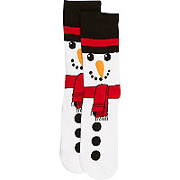 White snowman socks