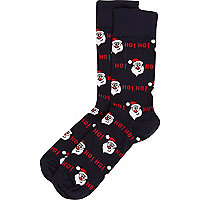 Navy santa print novelty ankle socks
