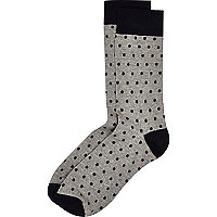 Grey polka dot print socks