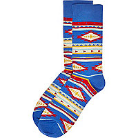 Blue tribal socks