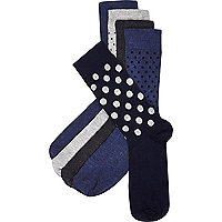 Navy mixed polka dot socks pack