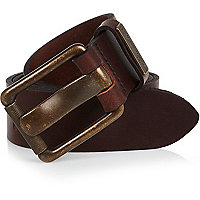 Brown brass tone buckle belt
