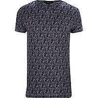 Grey stag print burnout t-shirt