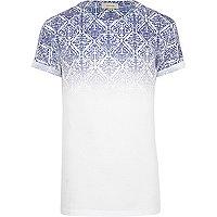 White aztec ombre print t-shirt