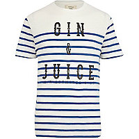 Blue stripe gin & juice print t-shirt