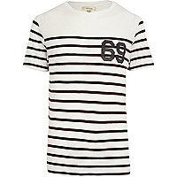 Dark red stripe echo park back print t-shirt