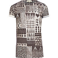 Grey smudged aztec print t-shirt