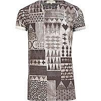Grey smudged aztec print t-shirt