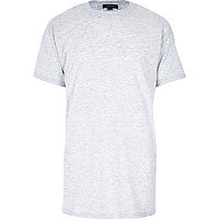 Grey marl short sleeve longer length t-shirt