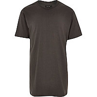 Dark grey longer length crew neck t-shirt