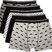Grey moustache print boxer shorts pack