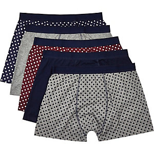 Navy polka dot print boxer shorts pack