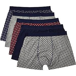 Navy polka dot print boxer shorts pack