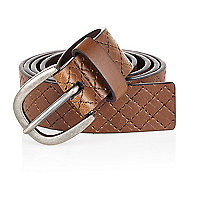 Brown diamond stitch buckle belt