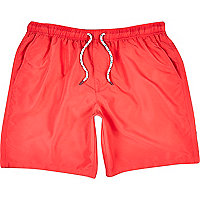 Red mid length swim shorts