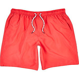 Red mid length swim trunks