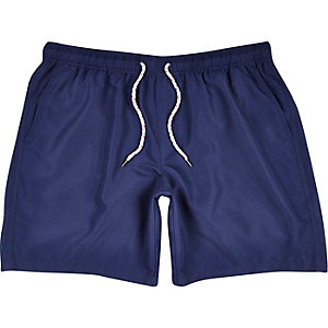 Navy mid length swim trunks