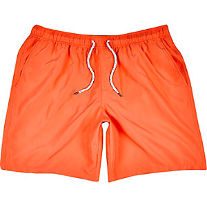 Orange mid length swim shorts