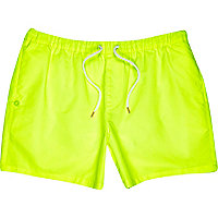 Yellow neon mid length swim shorts