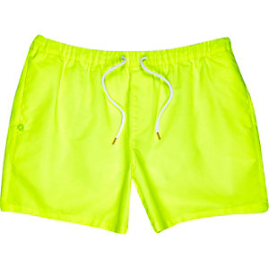 Yellow neon mid length swim trunks