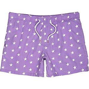 Purple star print swim trunks