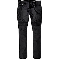 Black biker Sid skinny stretch jeans