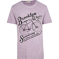 Lilac Brooklyn Wheels bicycle print t-shirt