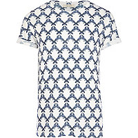 White geometric bird print t-shirt
