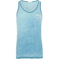 Blue burnout surf club print vest