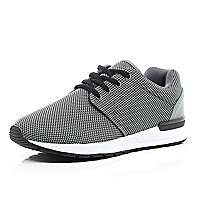 Grey mesh thick sole trainers