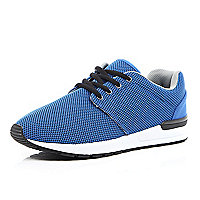 Blue mesh thick sole trainers