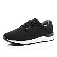 Black mesh thick sole trainers