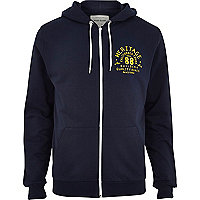 Navy heritage print zip through hoodie