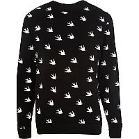 Black bird print sweatshirt