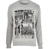Grey New York print sweatshirt