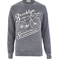 Grey Brooklyn Wheels bicycle print sweatshirt