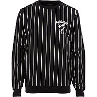 Black Brooklyn print stripe sweatshirt