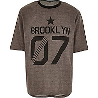 Brown Brooklyn print t-shirt