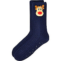 Navy reindeer slipper socks
