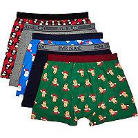 Mixed Christmas print boxer shorts pack