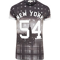 Black tartan print New York 54 t-shirt