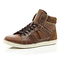 Brown perforated panel high tops