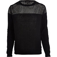 Black mesh yoke jumper