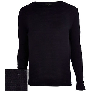 Navy lightweight textured jumper