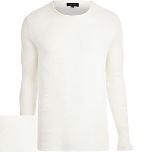 Ecru lightweight textured jumper