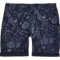 Blue indigo floral shorts